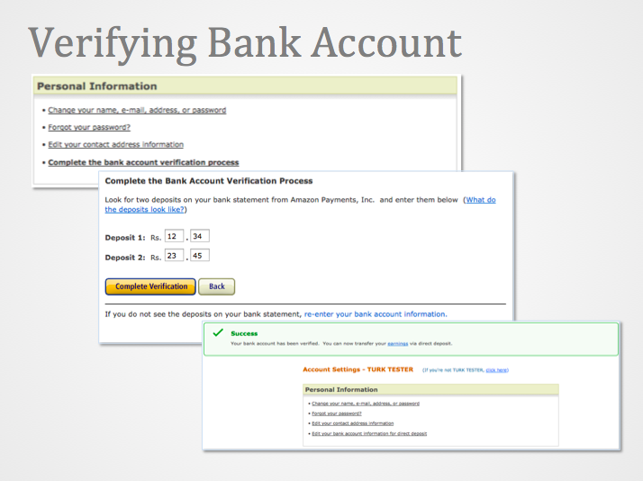 Image of the verify bank account sequence