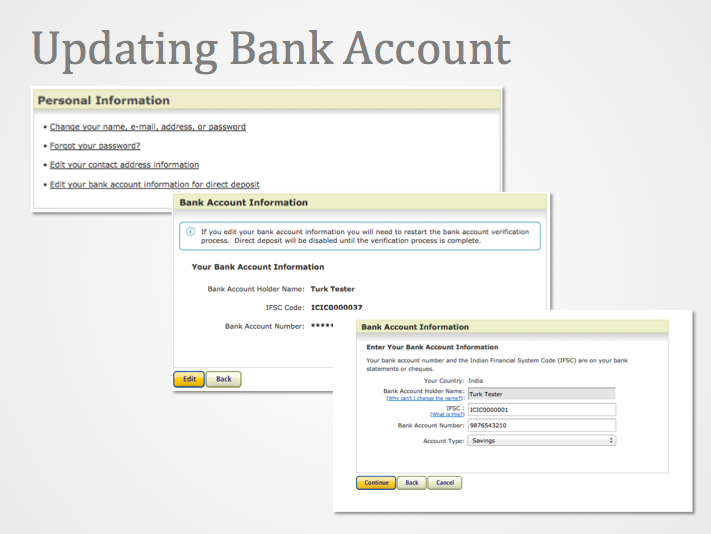 Image of the update bank account sequence